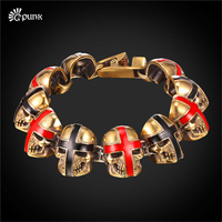 gold color antique biker cross skull bracelets for men women steel solider man's jewelry cool punk wristband H2465