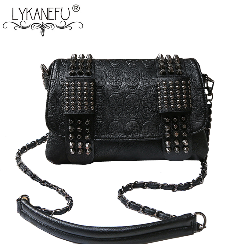 Fashion Bag Women Messenger Bags PU Leather Rivet Women Clutch Purse and Handbag with Long Strap Bolsa Feminina Dollar Price female brand design women bag fashion rivet messenger bags solid pu leather clutch bag vintage crossbody bag punk women handbag
