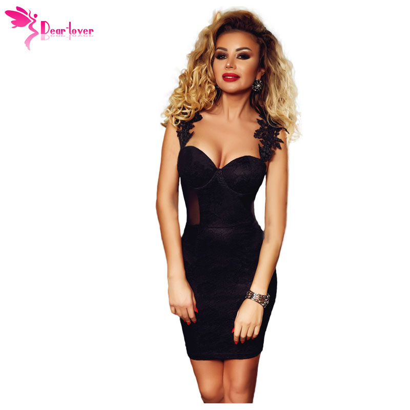 f8e123056 Dear Lover Party Dress Vestido Mujer 2018 Sexy Ladies Black Sleeveless Lace  Applique Sweetheart Neck Bodycon