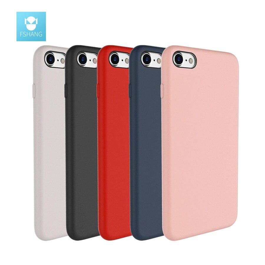 imágenes para Fshang original agradable a la piel líquido de silicona shell cajas del teléfono para iphone 7 case para iphone 7 plus case coque cubierta de lujo