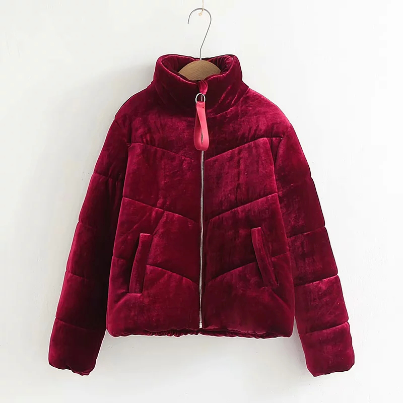 2018 Autumn Winter Brown Red Blue   Parkas   Women Coat Casual Warm Velvet   Parkas   Female Pockets Zipper Outwears For Ladies Jacket