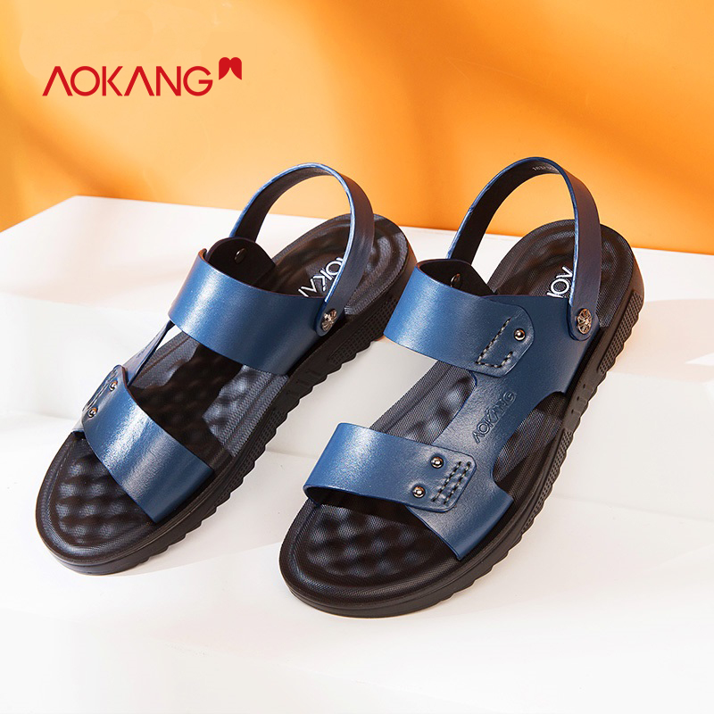AOKANG 2018 Summer men shoes leather genuine sandals men comfortable leisure men sandals summer hard wearing