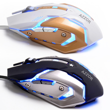 AZZOR  6 Buttons Wired USB Professional Optical Gaming Mouse 3200DPI   gaming mouse CF/LOL cable USB computer light