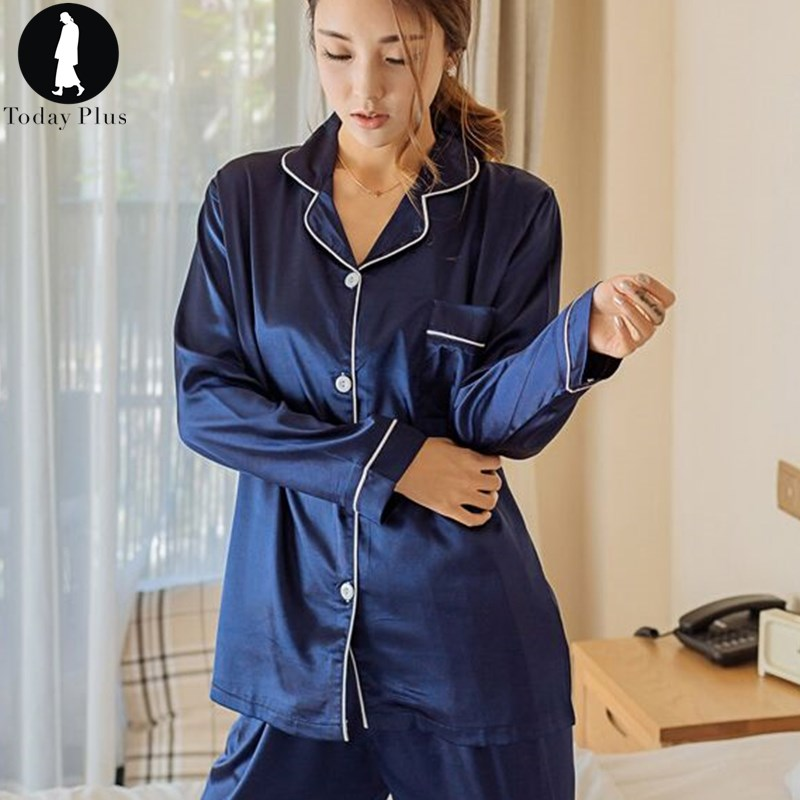 Today Plus 2018 New Fashion Women Pajama Sets Silk Solid Turn-Down Collar Long Sleeve Sleepwear Loungewear All Seasons 5 Colors ...