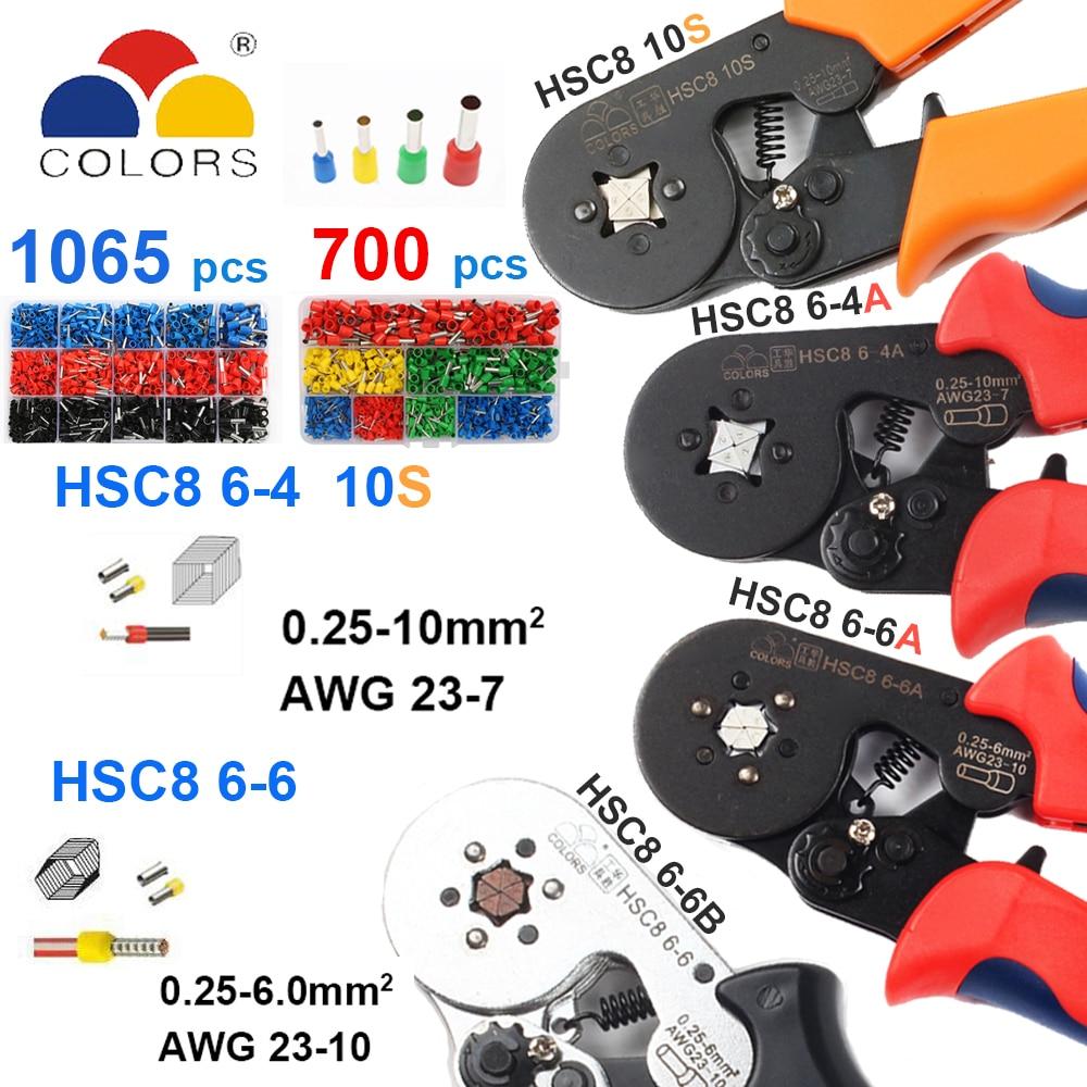 Handwerkzeuge Hsc8 10 S 0,25-10mm2 23-7awg Crimpen Zangen Hsc8 6-4a Hsc8 6-6 Mini Runde Nase Zange Mit Rohr Nadel Terminals Box Hand Werkzeuge