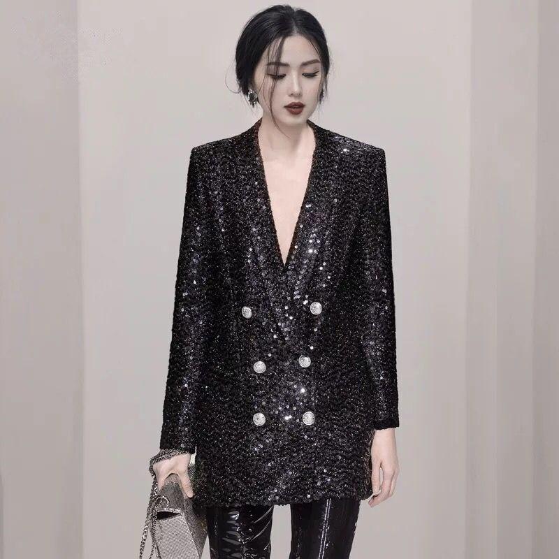 Blazer Designer Pailletten Sexy Doppel Frauen Schwarz Qualit Schal berlegene Kragen Solide 2018 Crossbody Lange t fvgIb7yY6m