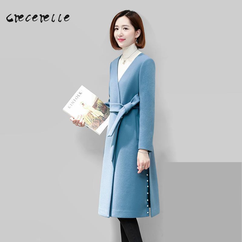 Large Size Women 2018 New Winter Fashionable In The Long Loose Woolen Coat Woolen Coat Girl Women Plus Size charming D504
