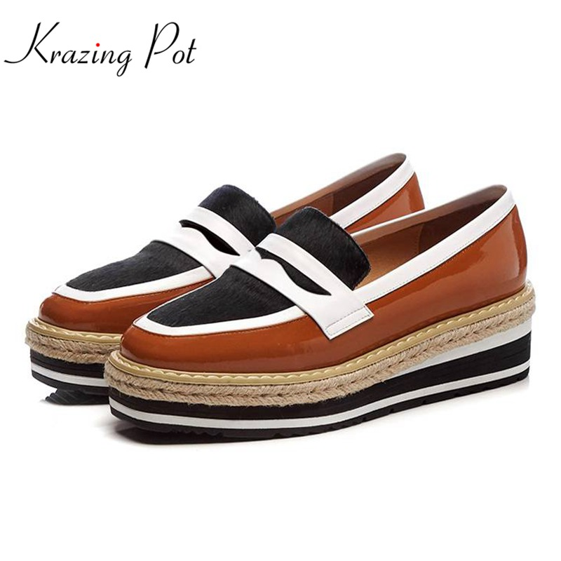 Krazing Pot 2018 summer cow leather wedges thick bottom high heels shoes women horsehair pumps slip on mixed colors shoes L92 krazing pot 2018 cow leather simple design breathable high heels hollow women pumps round toe brown white color brand shoes l92