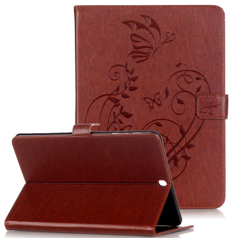 WeFor Cover Silicon Leather Case for Samsung Galaxy Tab S2 9.7 SM-T810 T815 Flip Book Style Stand /w Card Holder [Painting]