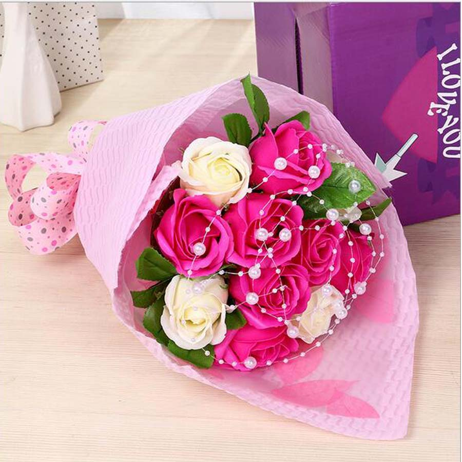 High quality handmade creative soap roses bouquets simulation soap high quality handmade creative soap roses bouquets simulation soap flowers pearl chain wedding valentine birthday flower in artificial dried flowers from izmirmasajfo