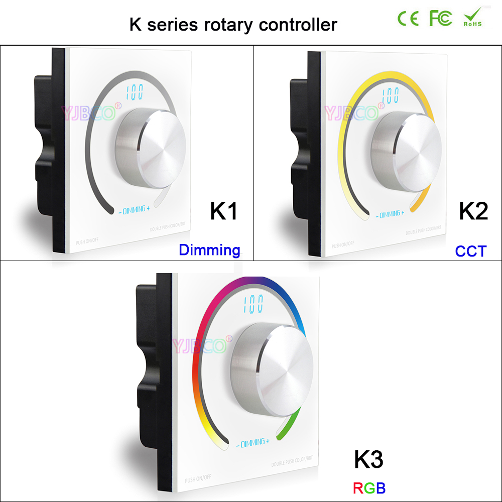 цена на BC K1/K2/K3 Switch knob Wall-mounted single color/CCT/RGB Rotary Dimmer controller & RF Wireless Remote for led stirp,DC12V-24V