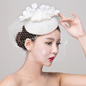 Image 4 - הכלה סטודיו תמונה כיסוי ראש תחרה פשתן רדוד לבן כובע שיער קישוטי חתונה שמלת אביזרי נשים fasinator כובע שיער קליפ