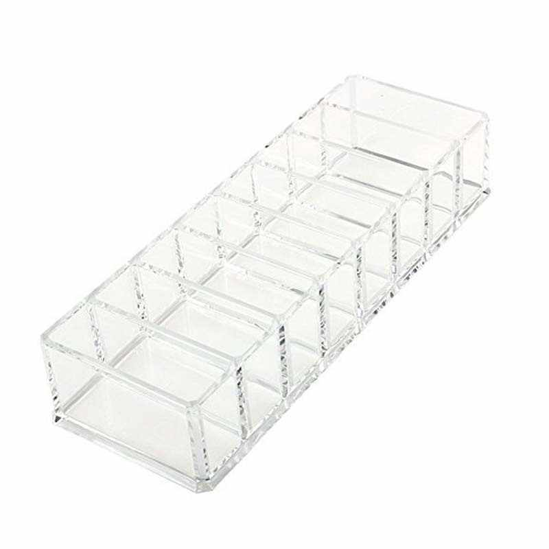 Clear Acrylic Brush Lipstick Eyeshadow Holder Makeup Organizer Cosmetic Makeup Tools Storage Box Case 22x9x5.5CM