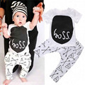 the spring and summer baby unisex clothing sets lovely letter t-shirt and print pants infant cotton casual clothing sets
