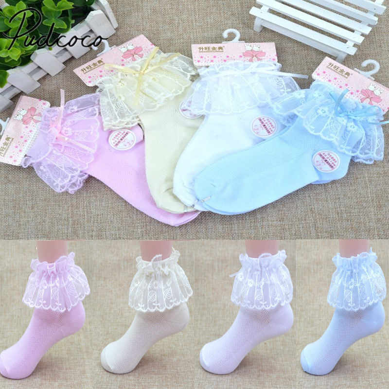2018 Brand New Princess Girl Toddler Kid Baby Girl Vintage Lace Bow Ruffle Frilly Ankle Socks Floral Solid Ventilate Socks 1-15T