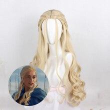 цена на Anime Game of Thrones Daenerys Targaryen Long Wavy Braiding Hair Perucas Cosplay Wig Synthetic Halloween Costume Wigs For Women