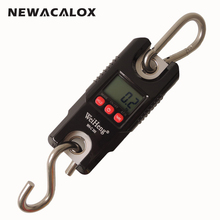 NEWACALOX 300kg/661lb x 0.1kg  Mini LCD Digital Crane Scale Electronic Weight Stainless Steel Hook Hanging Scale
