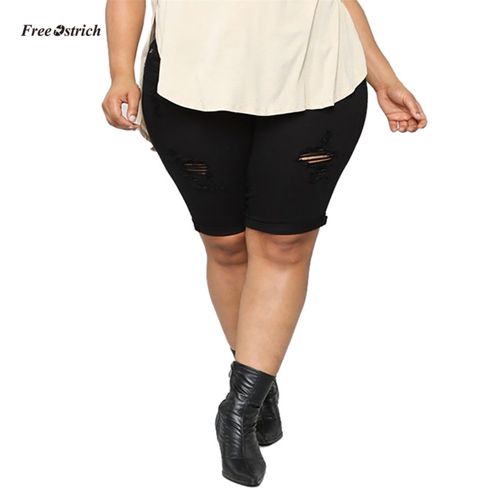 Free Ostrich Clothes Women   Jeans   Women Casual   Jean   Elastic Plus Loose Denim Medium Cut Pants Plus size Shorts feminino   Jeans
