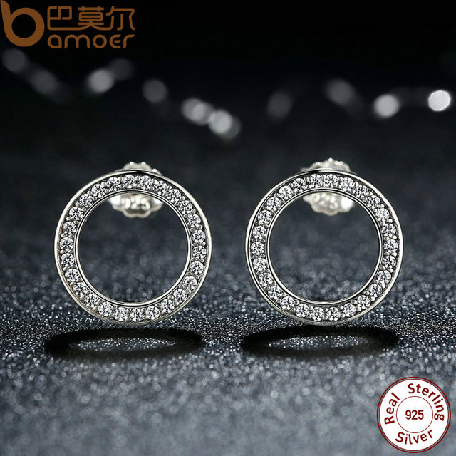Sterling Silver Circle Push-back Earrings