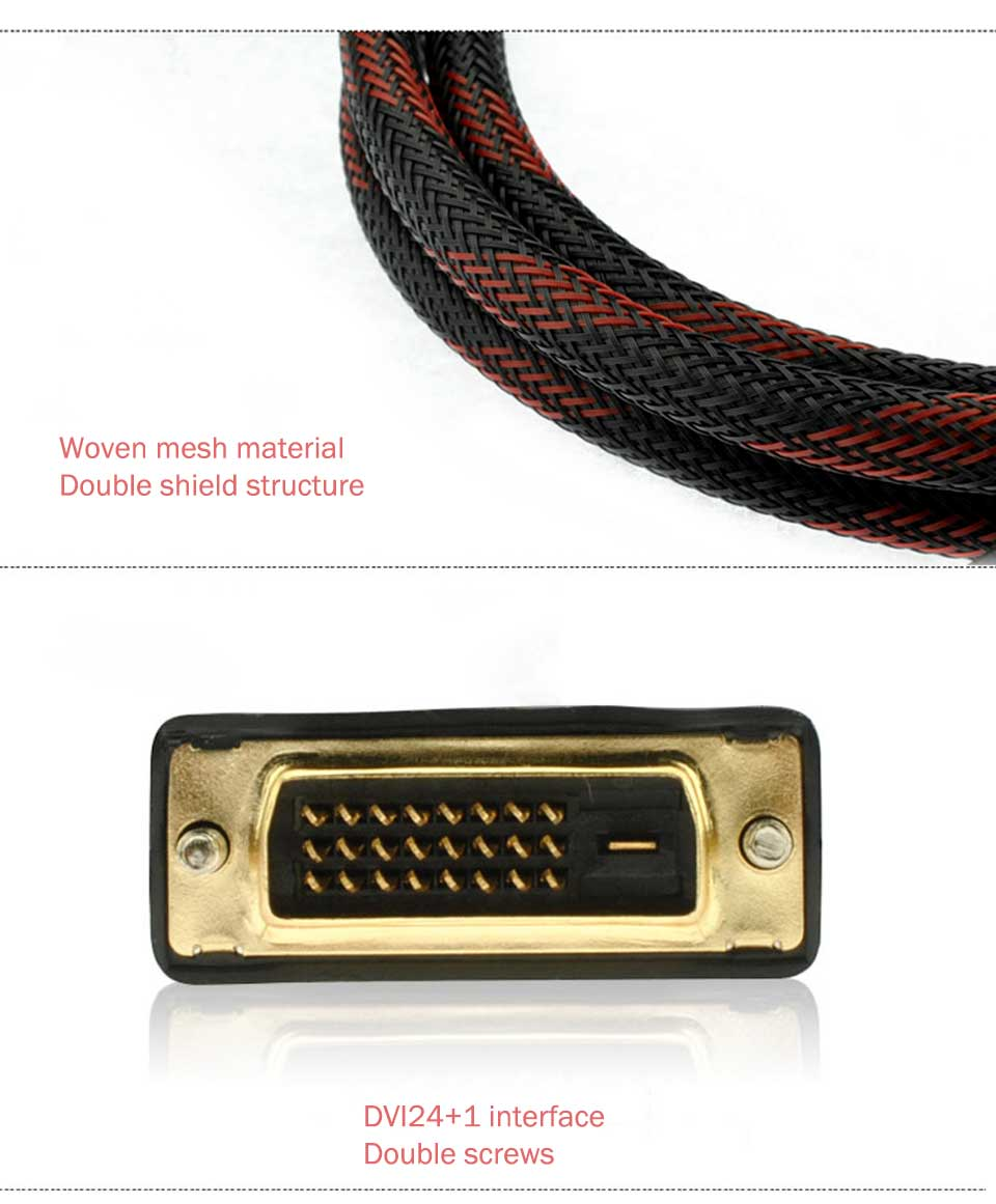 High Speed DVI Cable 3M 5M 10M Gold Plated Plug Male-Male DVI TO DVI 24+1 cable 1080p for LCD DVD HDTV XBOX Monitor Projector (4)