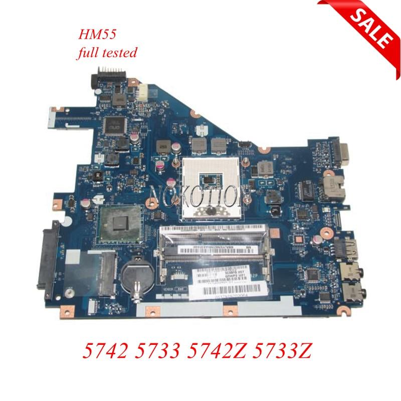 NOKOTION Laptop Motherboard For Acer aspire 5742 5733 5742Z 5733Z MBRJY02002 PEW71 LA-6582P HM55 UMA DDR3 Main board works new70 la 5892p fit for acer aspire 5742 5742g laptop motherboard mbpsv02001 mb psv02 001 pga988