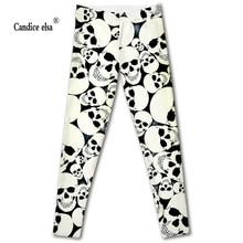 CANDICE ELSA leggings women workout female pants elastic fitness legging skull printed trousers plus size drop shipping