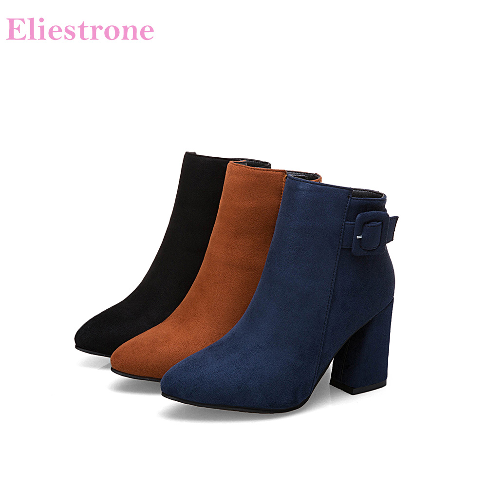 77279042ea5 Brand New Sweet Dark Blue Black Women Ankle Riding Boots Sexy Lady Party  Shoes Square Heels