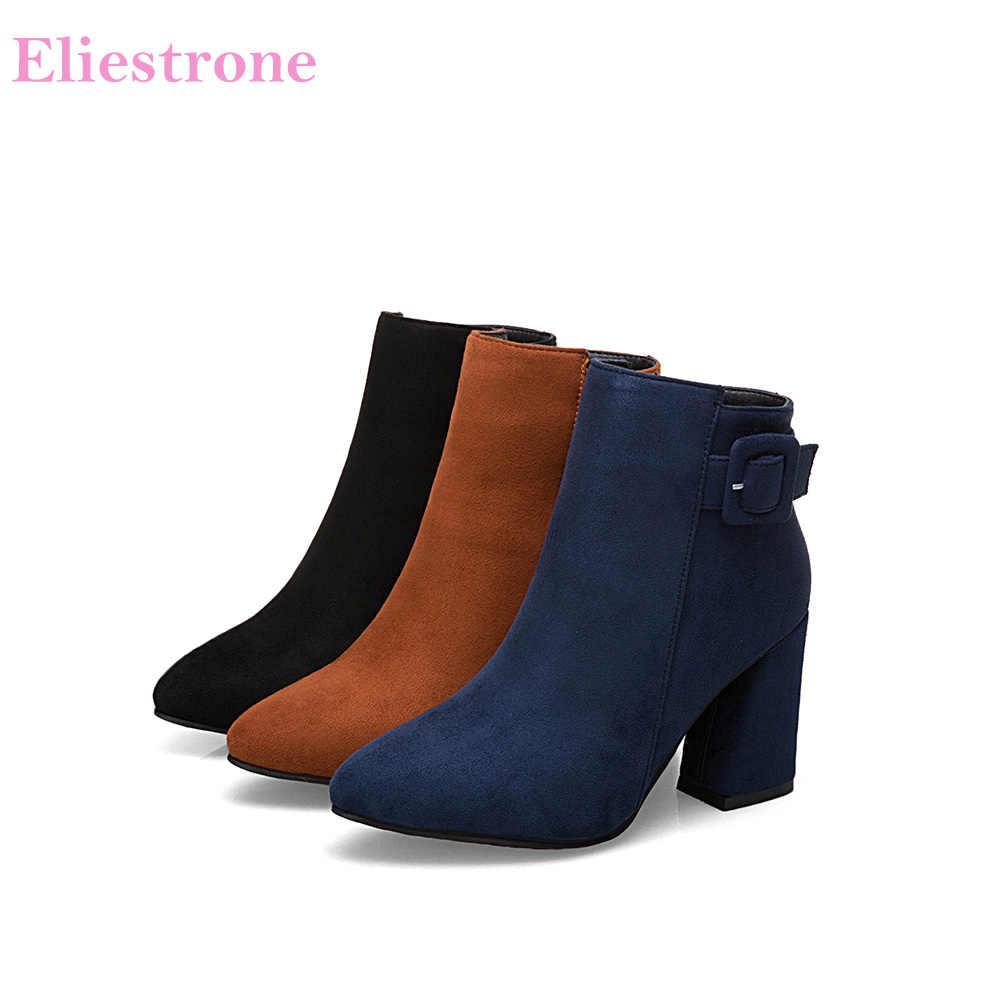 Yepyeni Tatlı Koyu Mavi Siyah Kadın Ayak Bileği binici çizmeleri Seksi Bayan parti ayakkabıları Kare Topuklu A534 Artı Büyük Boy 33 10 43