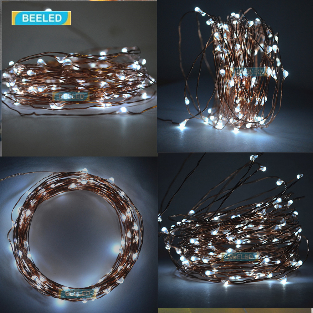 Flexible Copper LED Strip Lights Powered Wire 10M 100 leds ...