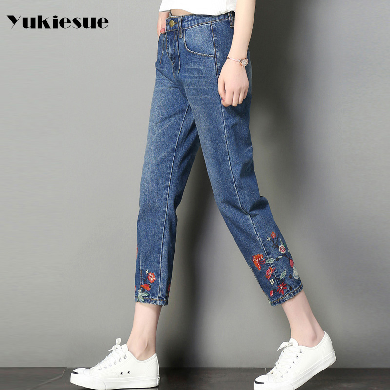 Embroidery floral jeans women high waist 2017 autumn loose ankle length straight pants female jeans denim wide leg jeans femme 2017 spring new women sweet floral embroidery pastoralism denim jeans pockets ankle length pants ladies casual trouse top118