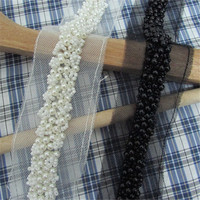 Free Shipping 2Yd 2cm Fake Pearl Beaded Lace Trim Black White Mesh Fabric Paillette Lace Beaded