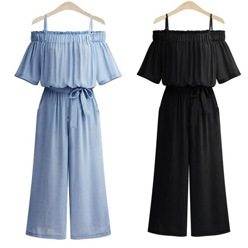 plus size 2018 new summer sexy off shoulder chiffon Wide Leg bodysuit rompers womens jumpsuit playsuits overalls trousers