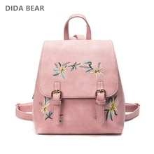 DIDA BEAR Brand Women Leather Backpacks Female School bags for Girls Rucksack Small Floral Embroidery Flowers Bagpack Mochila(China)