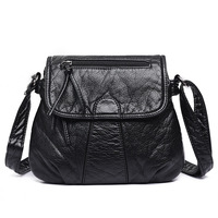 2018 Sheepskin Leather Women Messenger Bags New Fashion Classic Black Lady Crossbody Totes Bags Large Capacity