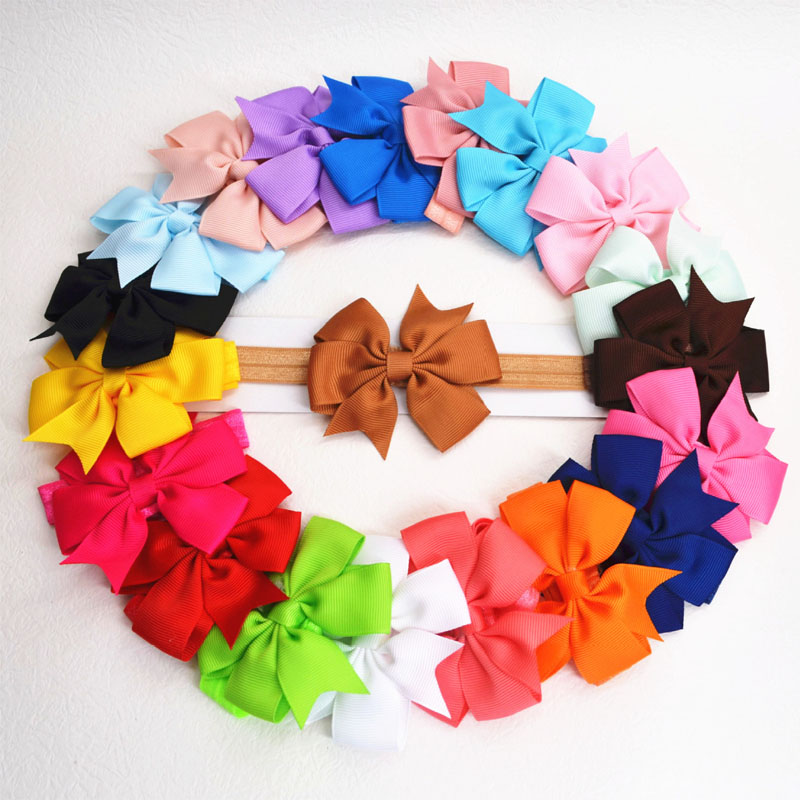 Headband Baby Girl Hair Band Newborn Infant Children Hair Accessories Lovely Elastic Headbands Bowknot bandeau fille 20Pcs/Lot headband baby girl hair bows newborn elastic hair band kids cute children hair accessories ribbon head band with dot 2pcs set