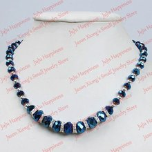 one piece fashion blue crystal glass faceted beads necklace with magnetic clasp 19