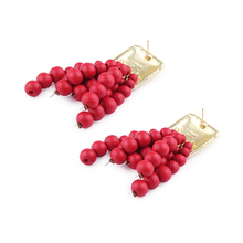 Dvacaman Handmade Red Beads Tassel Earrings Vintage Square Metal Drop Dangle Earrings ZA Fashion Women Jewelry Accessories AC14