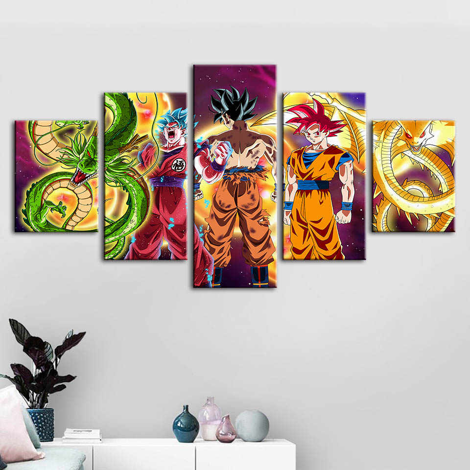 Home Decoration Canvas Prints Dragon Ball Paintings Animation Poster Wall Art Modular Pictures For Bedside Background Framework
