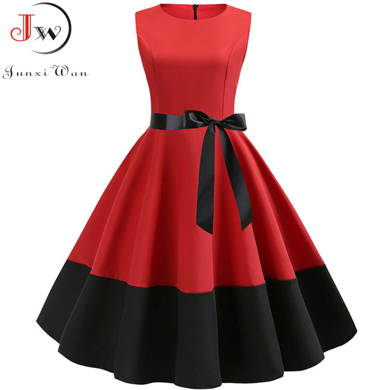 Retro Women Summer Casual Robe Rockabilly 50s 60s Vintage Dress Vestidos Swing Pin Up Red Black Patchwork Elegant Party Dresses