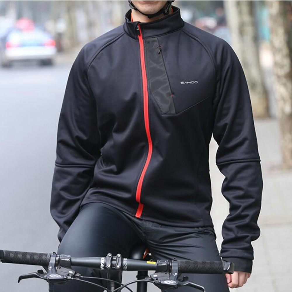 Sahoo Black Winter Thermal Fleece Windproof/Waterproof Long Sleeve Cycling Jersey Clothing Wear Reflective Cycling Jacket stylish fleece windproof hat black