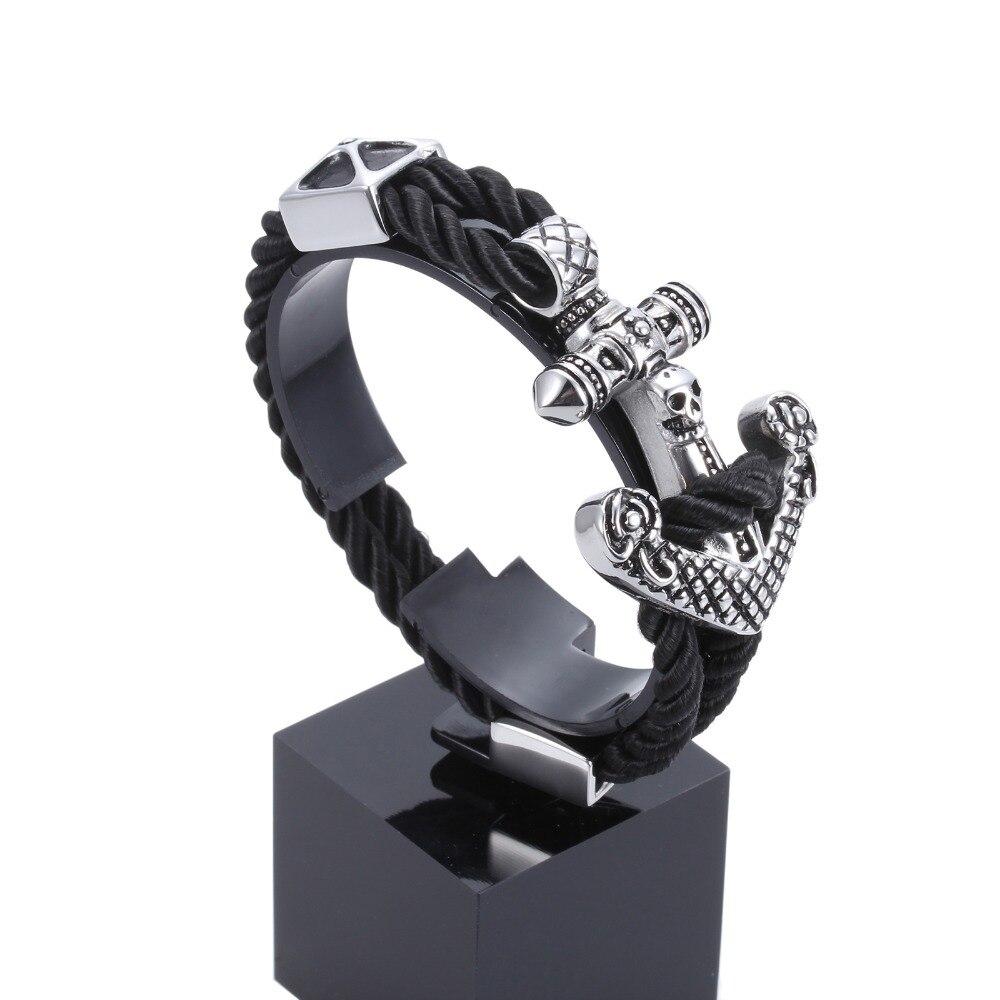 Stainless Steel Anchor Bracelet Navy Style Braided Rope Chain Hook Cuff Bracelet for Men Gift Woven Rope Anchor Chain Bracelet anchor pu leather braided bracelet