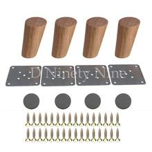 10 cm Yükseklik Ahşap Eğik Konik Güvenilir ahşap mobilya Dolapları Ayakları Kanepe Ayakları ile plaka seti 4