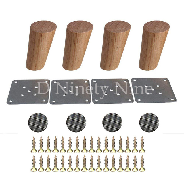 10cm Height Wooden Oblique Tapered Reliable Wood Furniture Cabinets Legs Sofa Feet with Plate Set of 4