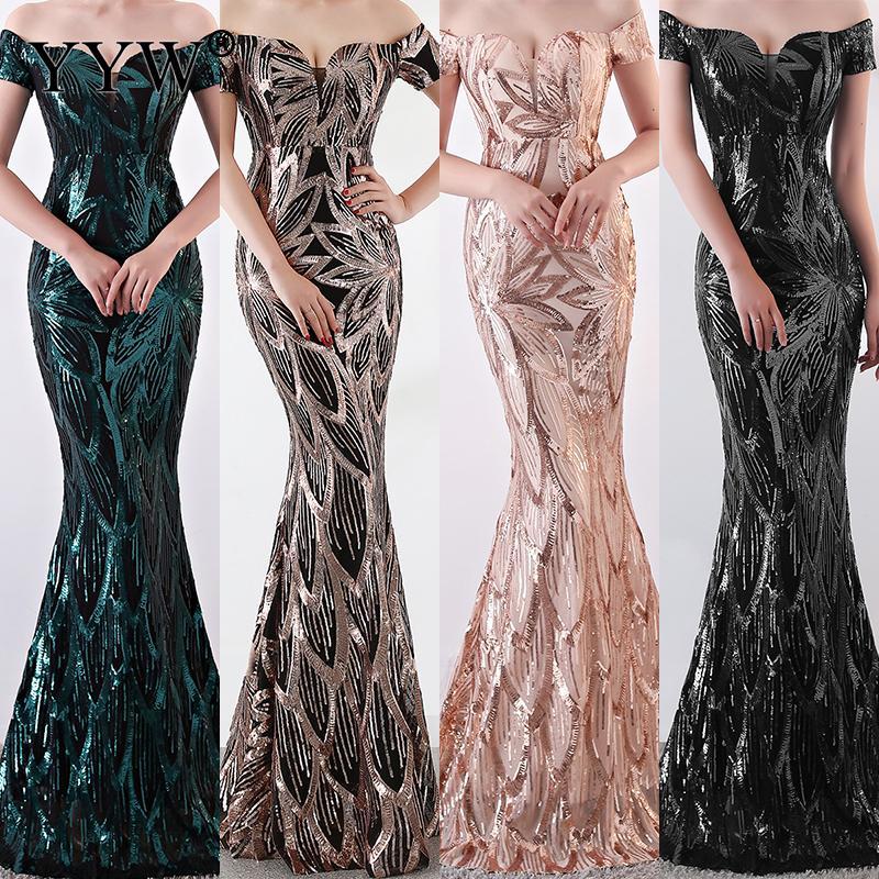 Luxury Sequined Floral Elegant Evening Dress 2019 Sexy Off Shoulder Mermaid Dress Women Vintage Backless Party Formal Long Dress