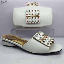 Pretty white with stones African slipper shoes and evening handbag set for wedding/party GY20, heel height 4cm