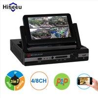 Hiseeu CCTV 4 Channel 8CH 1080N Digital Video Recorder With 7 LCD Screen Hybrid DVR HVR