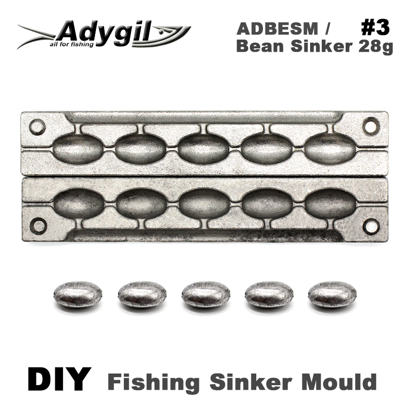 Adygil DIY Fishing Bean Sinker Mould ADBESM/#3 Bean Sinker 28g 5 Cavities