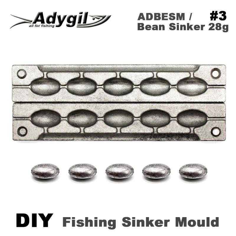 Adygil DIY Fishing Bean Sinker Mould ADBESM/#3 Bean Sinker 28g 5 CavitiesAdygil DIY Fishing Bean Sinker Mould ADBESM/#3 Bean Sinker 28g 5 Cavities