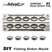 Adygil diy pesca feijão chumbador molde adbesm/#3 feijão chumbador 28g 5 cavidades|Ferramentas de pesca|   -