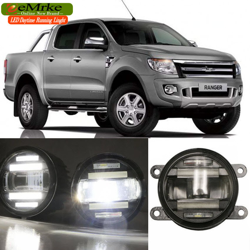 eeMrke Car Styling For Ford Ranger 2012 - up 2 in 1 LED Fog Light Lamp DRL With Lens Daytime Running Lights юбка arefeva юбки трикотажные